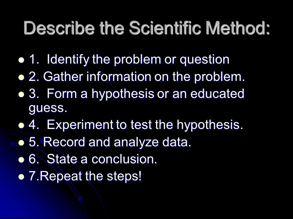 Describe the Scientific Method: