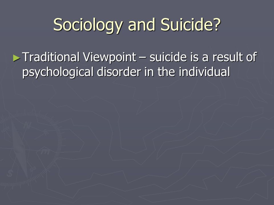 Sociology and Suicide.