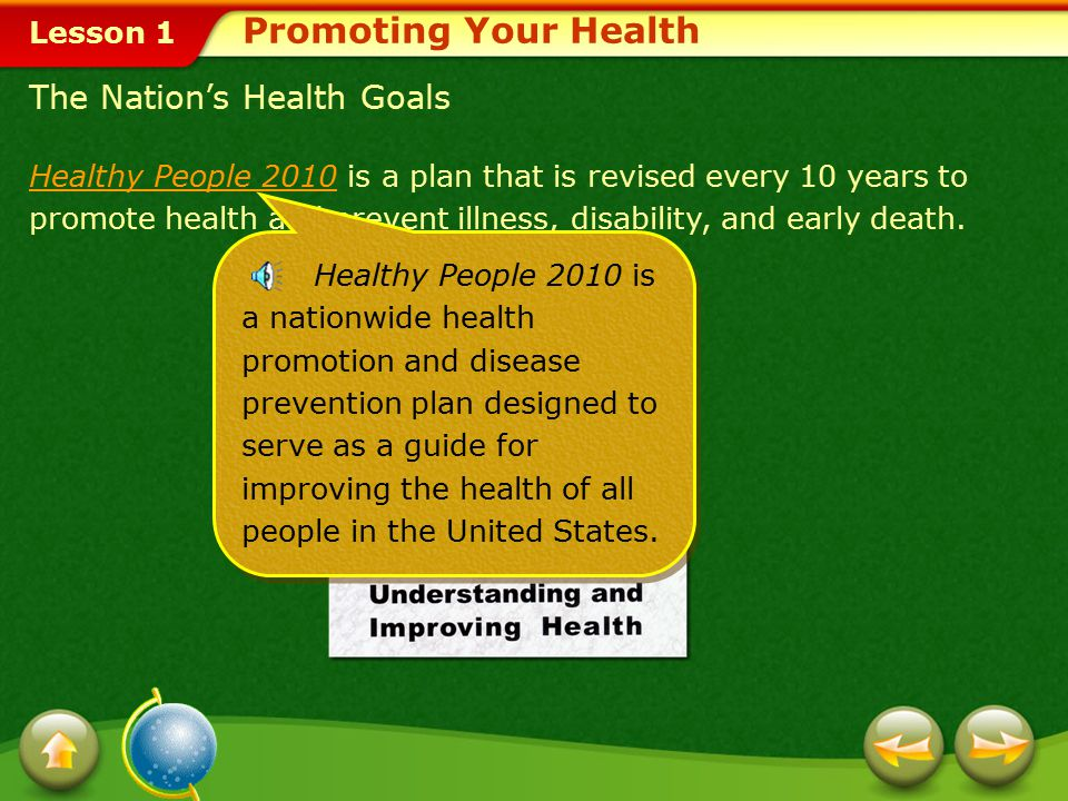 Promoting Your Health The Nation's Health Goals