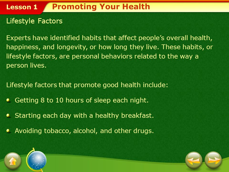 Promoting Your Health Lifestyle Factors