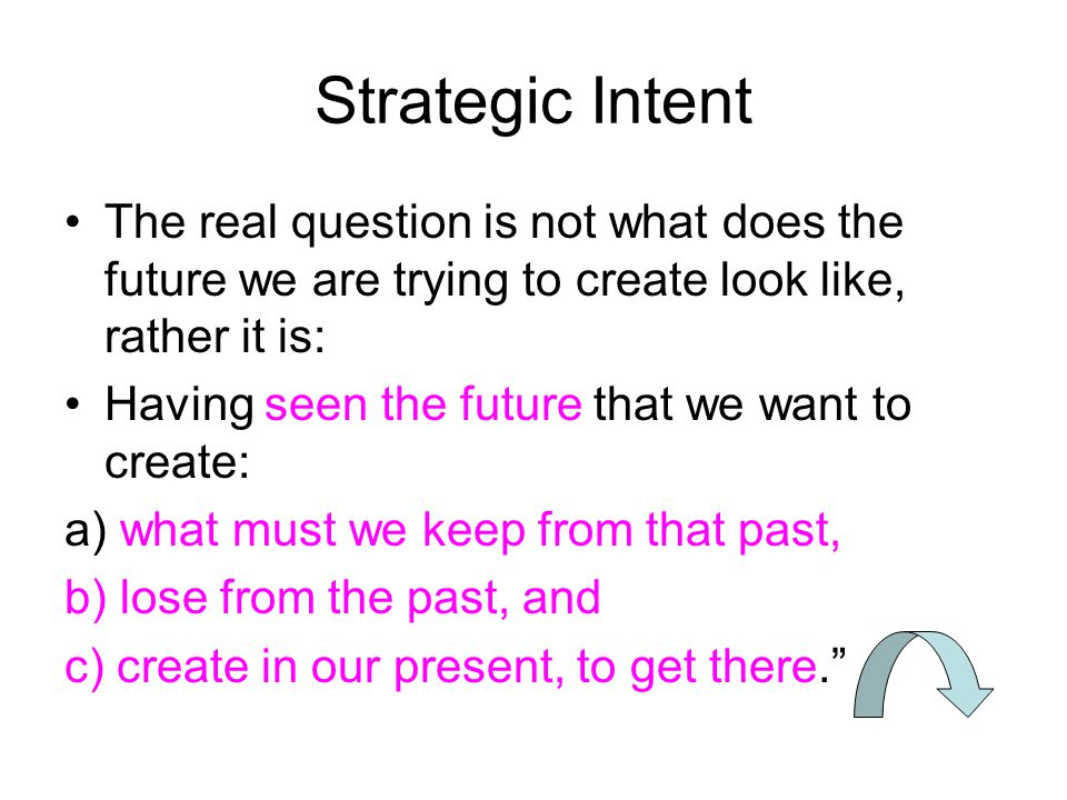 Strategic Intent The real question is not what does the future we are trying to create look like, rather it is:
