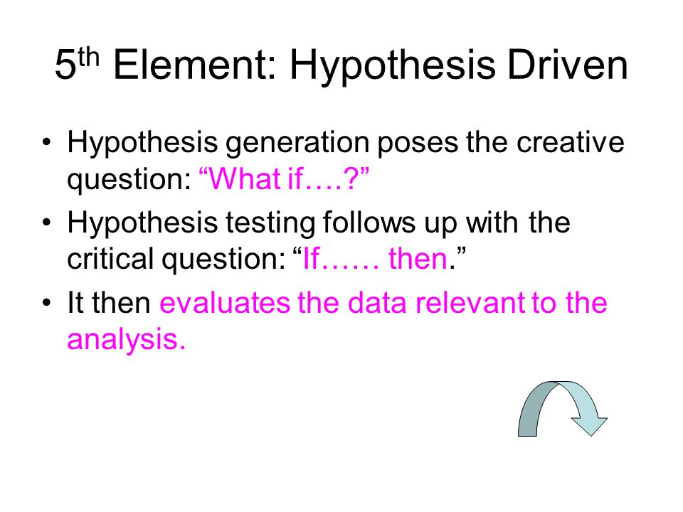 5th Element: Hypothesis Driven