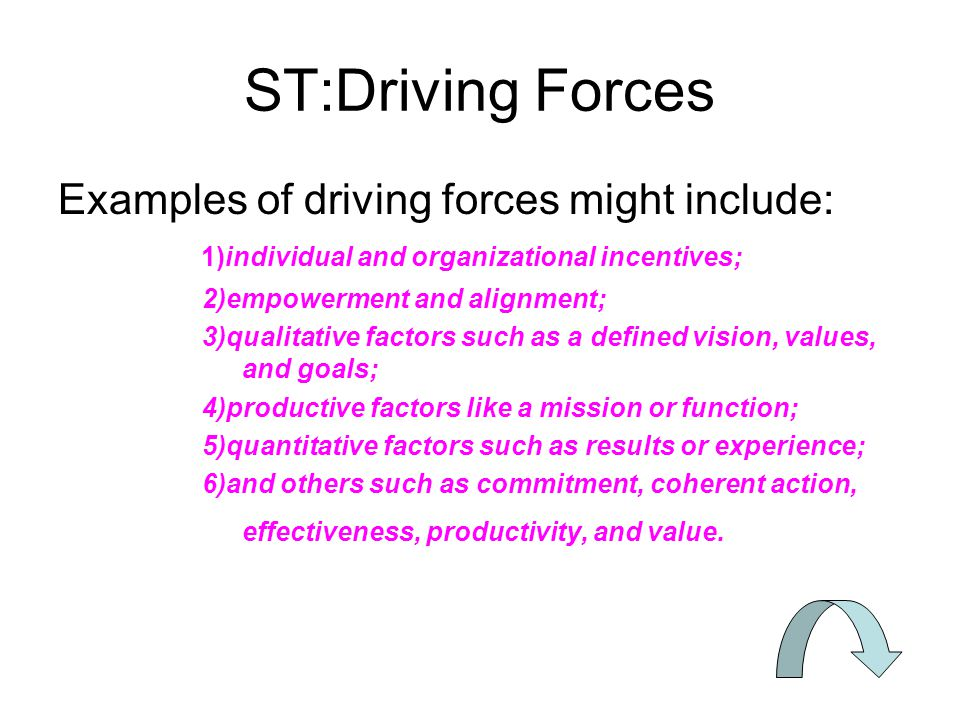 ST:Driving Forces Examples of driving forces might include: 1)individual and organizational incentives;