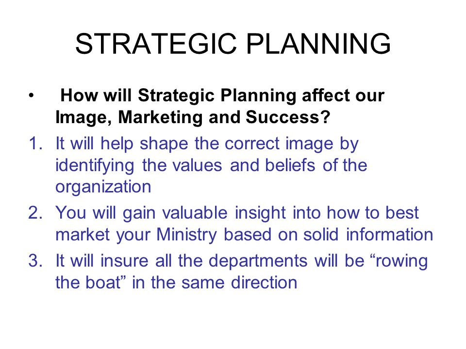 STRATEGIC PLANNING How will Strategic Planning affect our Image, Marketing and Success