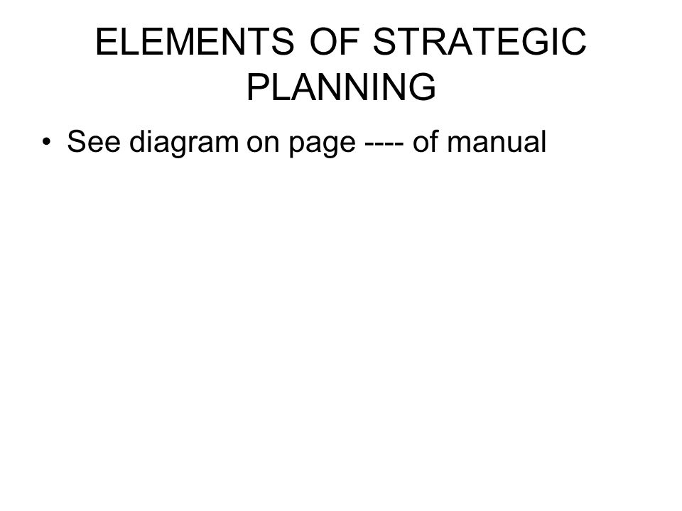 ELEMENTS OF STRATEGIC PLANNING