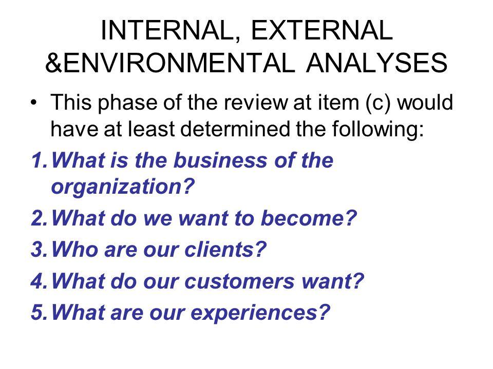 INTERNAL, EXTERNAL &ENVIRONMENTAL ANALYSES