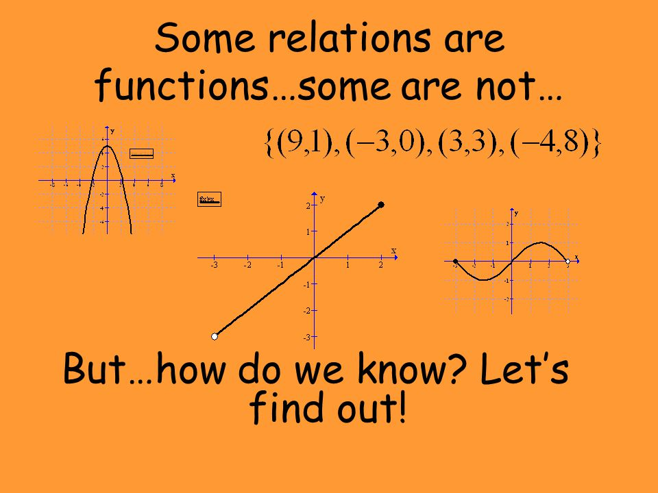 Some relations are functions…some are not…