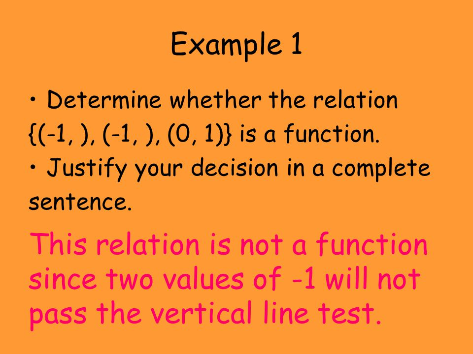 Example 1 Determine whether the relation. {(-1, ), (-1, ), (0, 1)} is a function. Justify your decision in a complete.