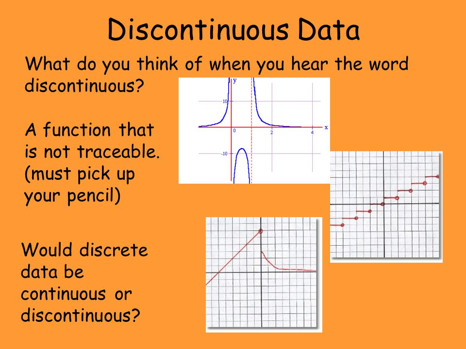 Discontinuous Data What do you think of when you hear the word discontinuous A function that is not traceable. (must pick up your pencil)