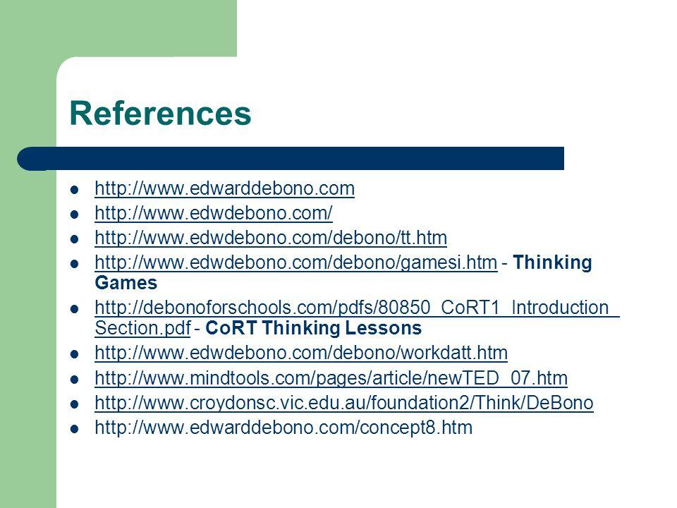 References http://www.edwarddebono.com http://www.edwdebono.com/