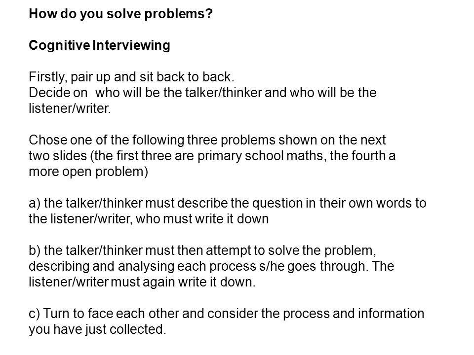How do you solve problems