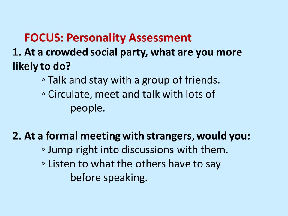 FOCUS: Personality Assessment 1