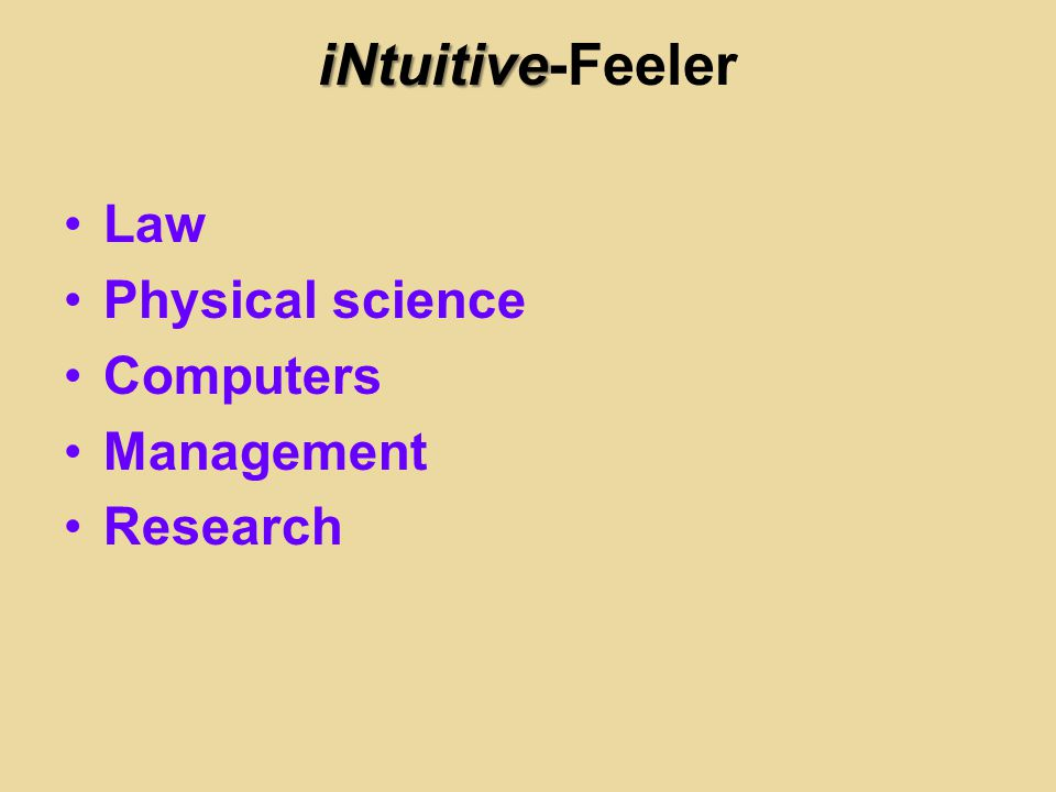 iNtuitive-Feeler Law Physical science Computers Management Research