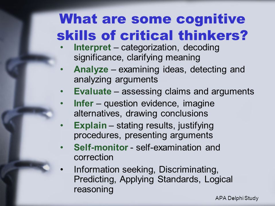 What are some cognitive skills of critical thinkers