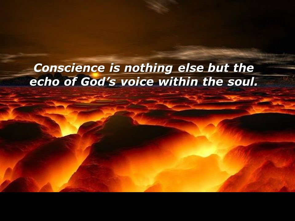 Conscience is nothing else but the echo of God's voice within the soul.