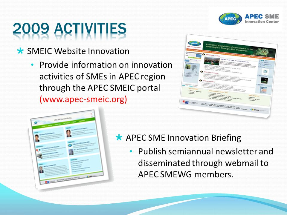 2009 activities SMEIC Website Innovation
