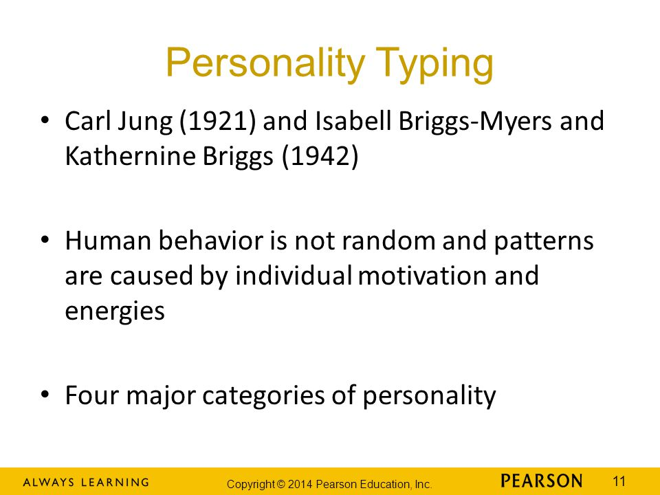 Personality Typing Carl Jung (1921) and Isabell Briggs-Myers and Kathernine Briggs (1942)