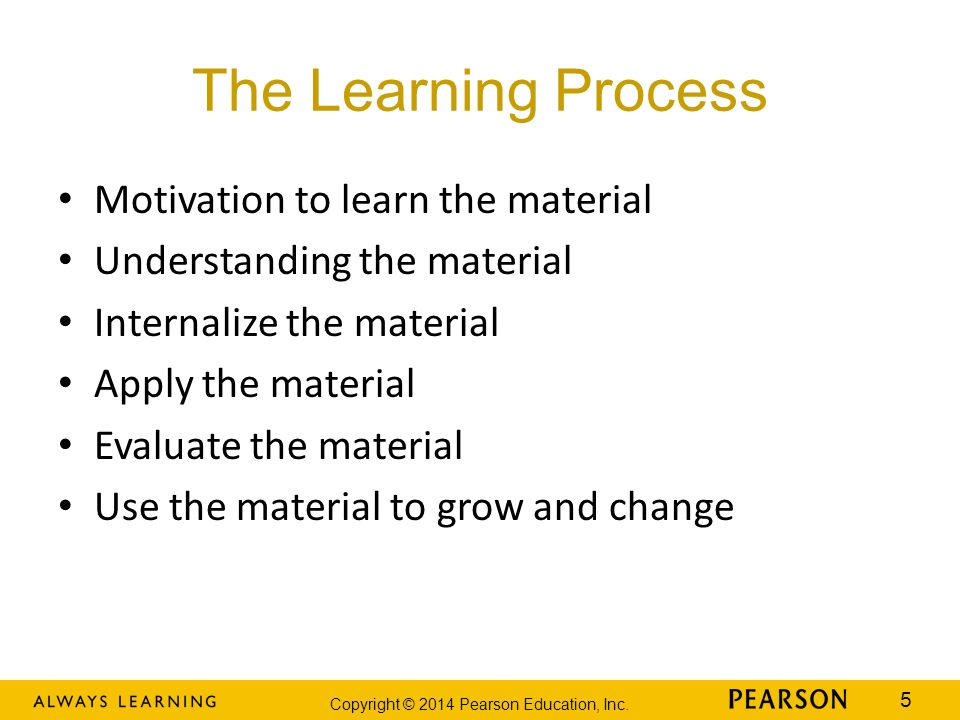 The Learning Process Motivation to learn the material