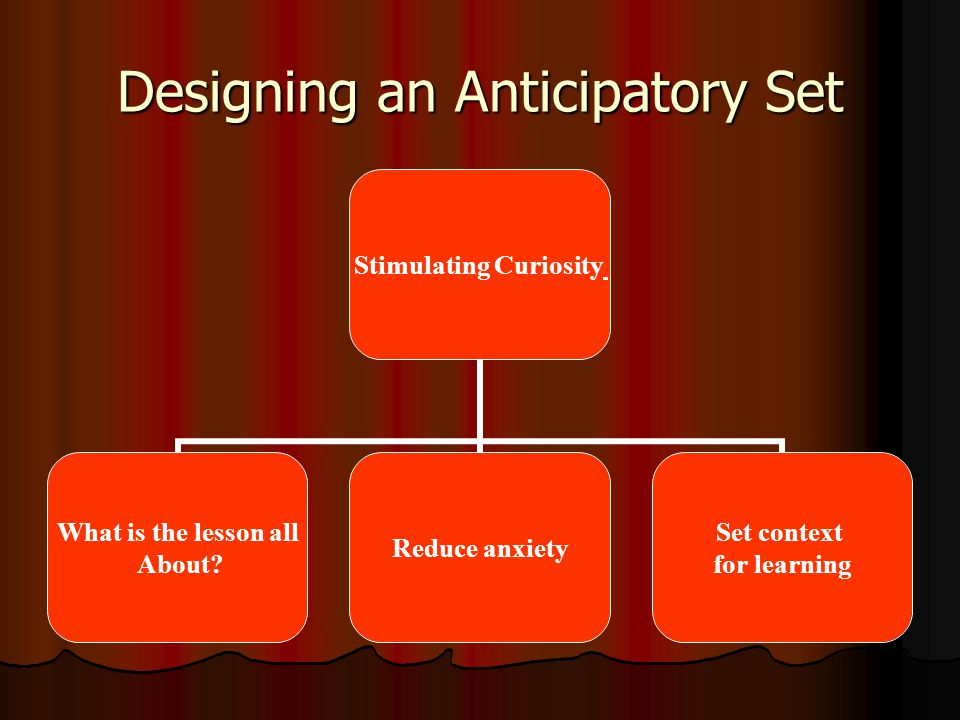 Designing an Anticipatory Set