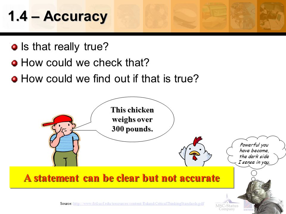 1.4 – Accuracy Is that really true How could we check that