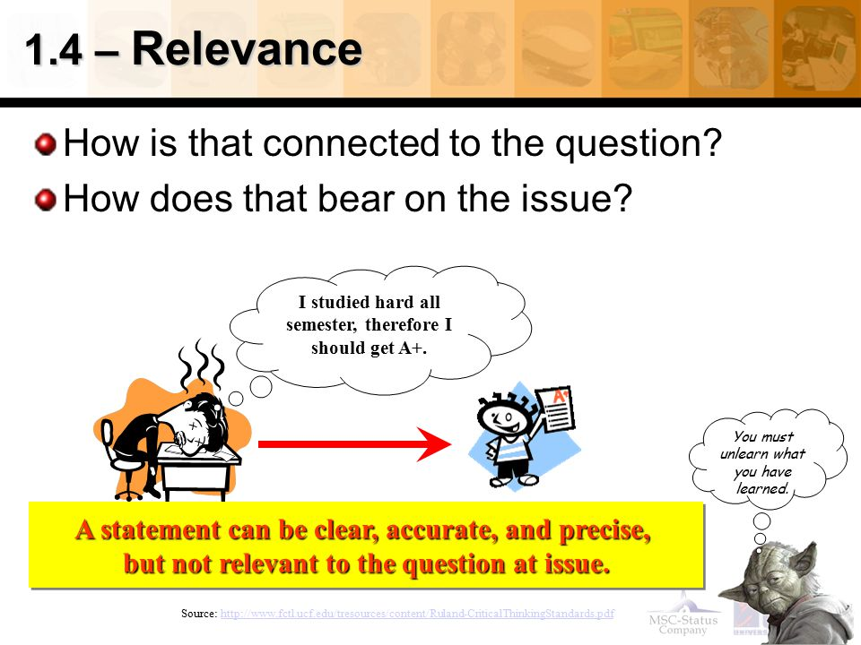 1.4 – Relevance How is that connected to the question
