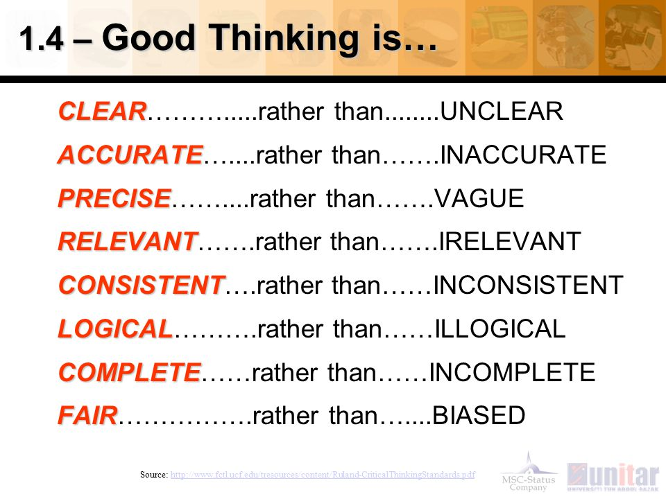 1.4 – Good Thinking is… CLEAR……….....rather than........UNCLEAR