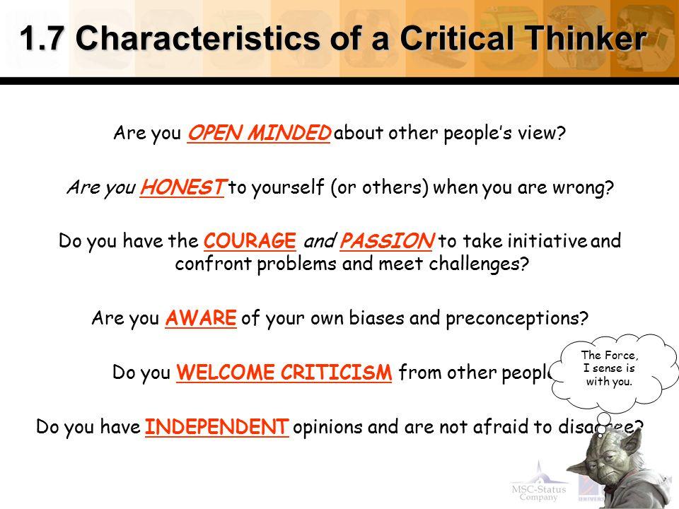 1.7 Characteristics of a Critical Thinker