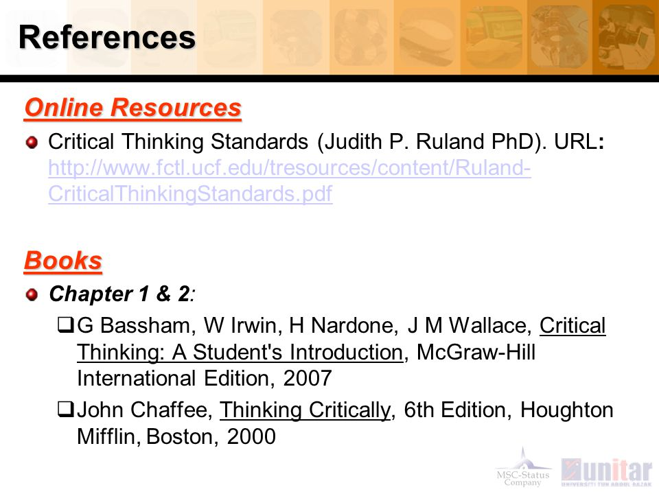 References Online Resources Books