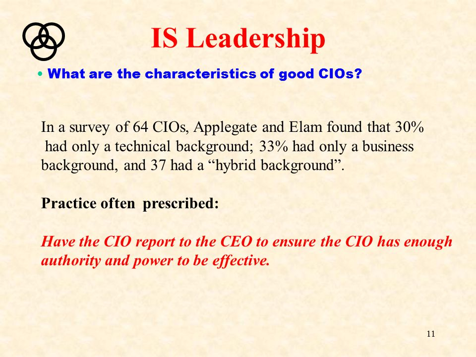 IS Leadership What are the characteristics of good CIOs In a survey of 64 CIOs, Applegate and Elam found that 30%