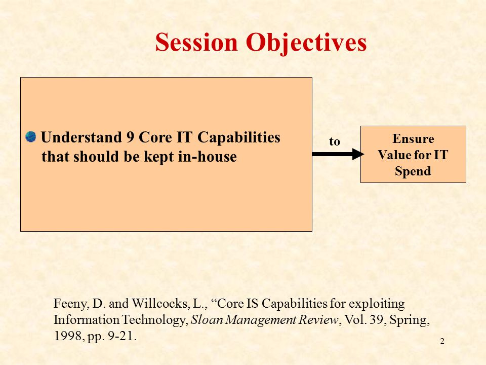 Session Objectives Understand 9 Core IT Capabilities