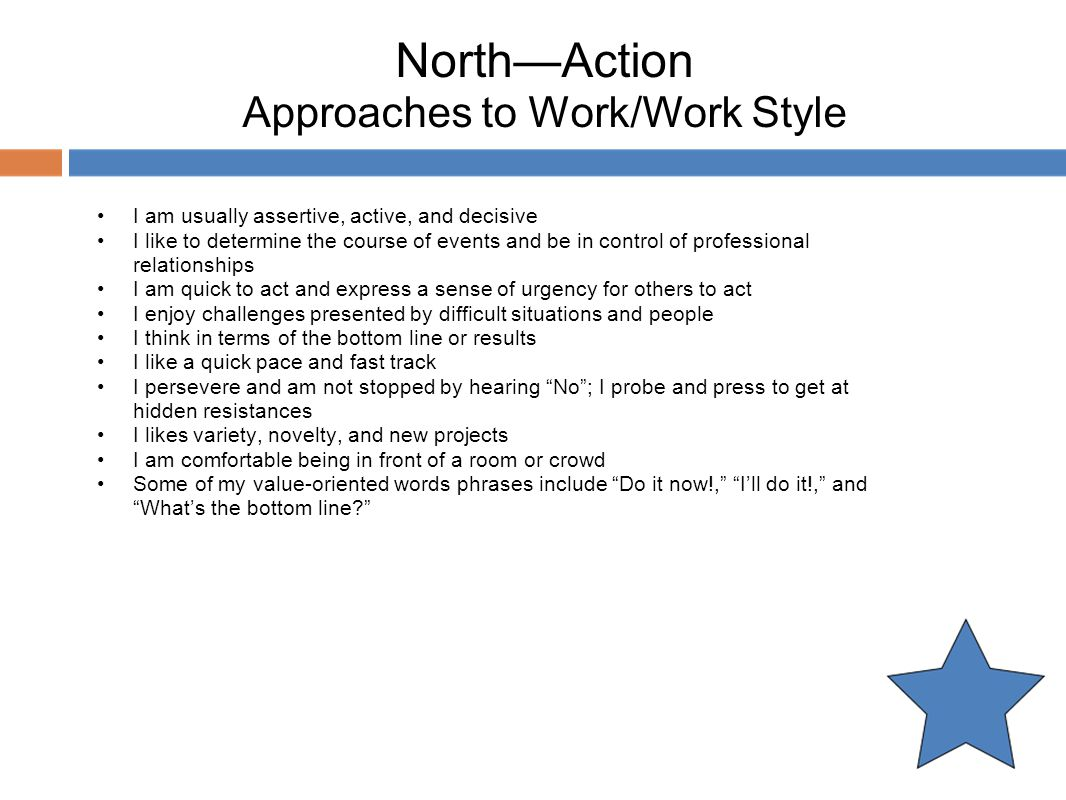 North—Action Approaches to Work/Work Style
