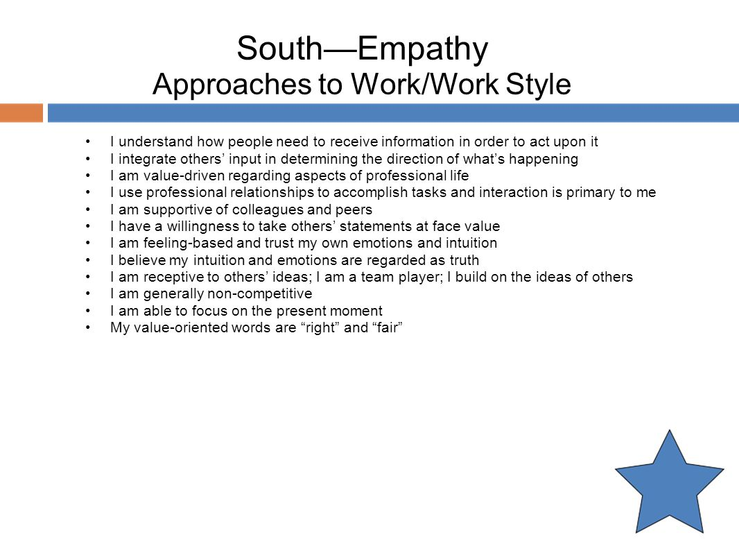 South—Empathy Approaches to Work/Work Style
