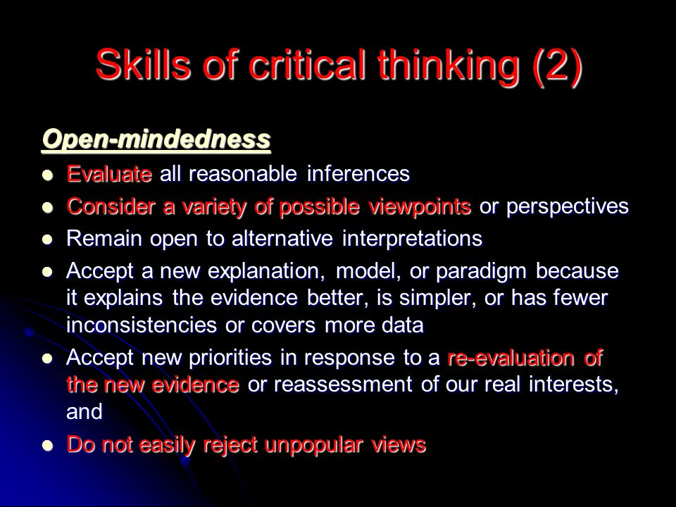 Skills of critical thinking (2)