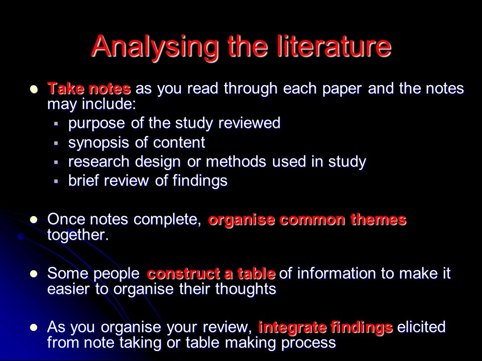 Analysing the literature