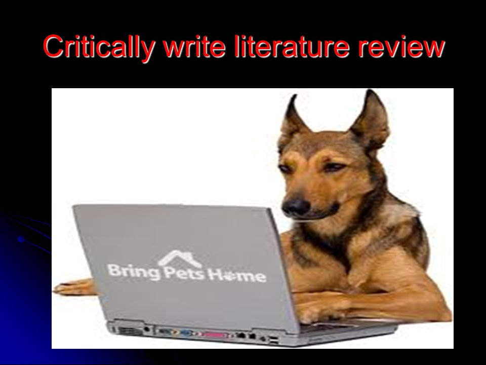 Critically write literature review