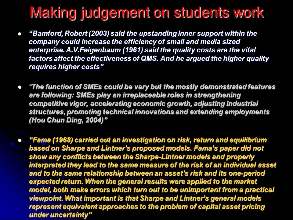 Making judgement on students work