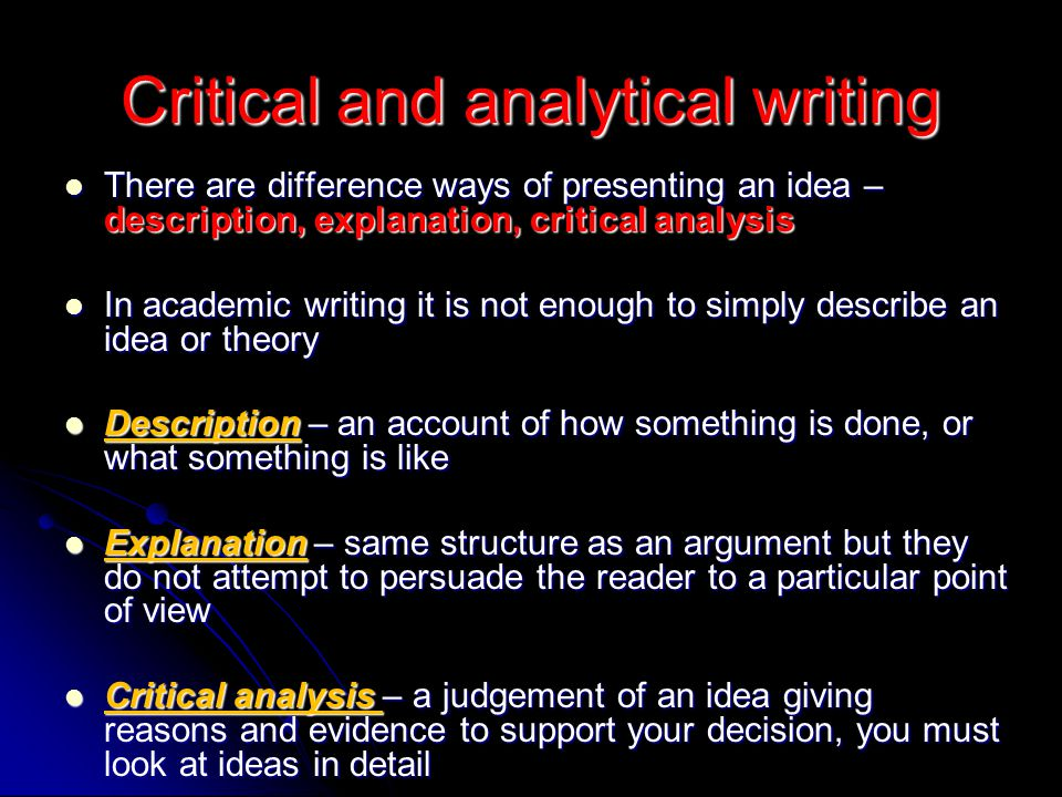 Critical and analytical writing