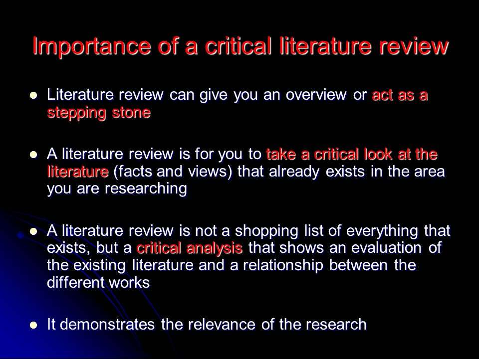 Importance of a critical literature review