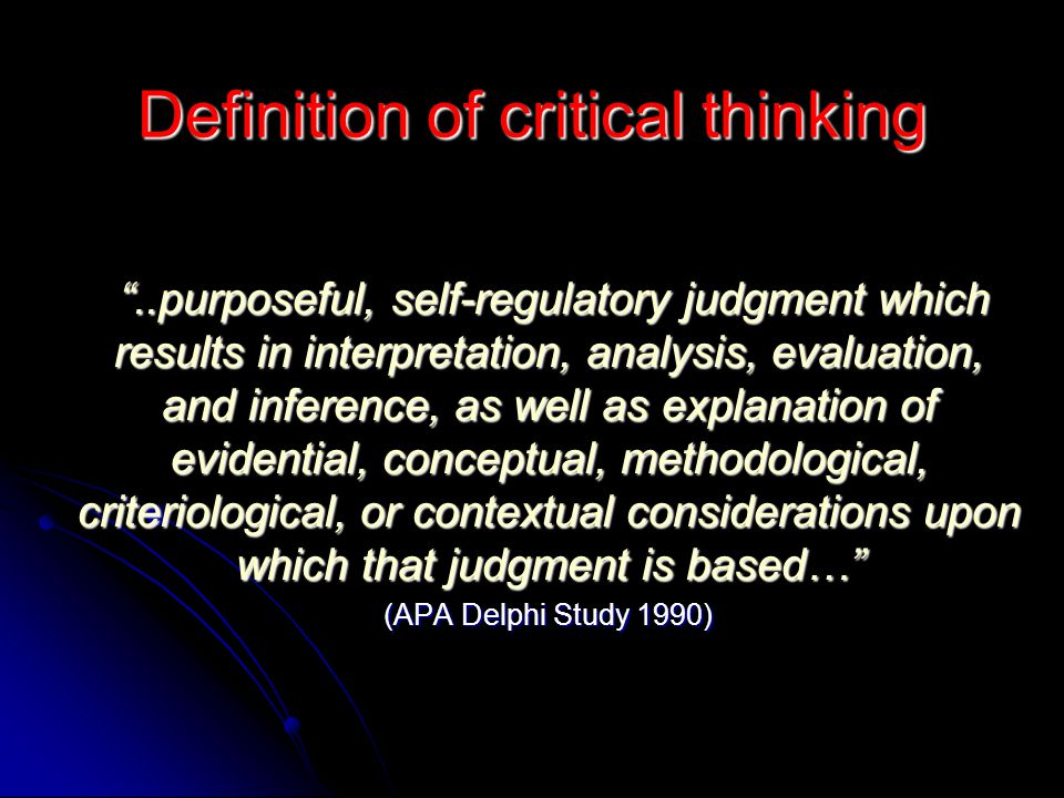 Definition of critical thinking