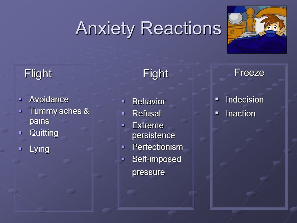 Anxiety Reactions Flight Fight Freeze Avoidance Behavior Indecision