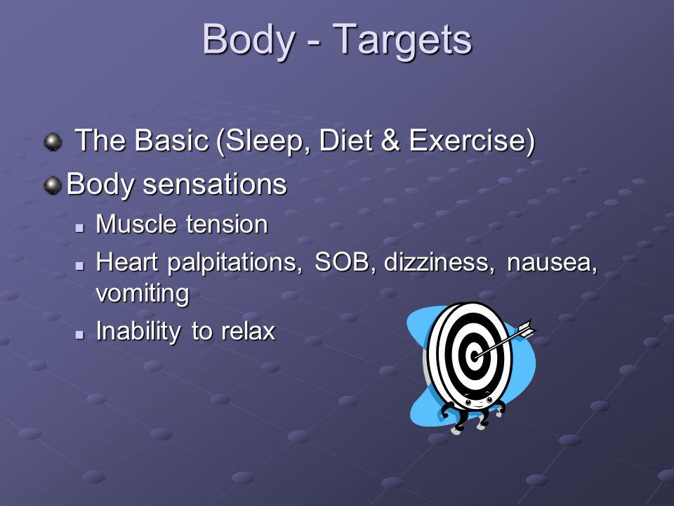Body - Targets The Basic (Sleep, Diet & Exercise) Body sensations