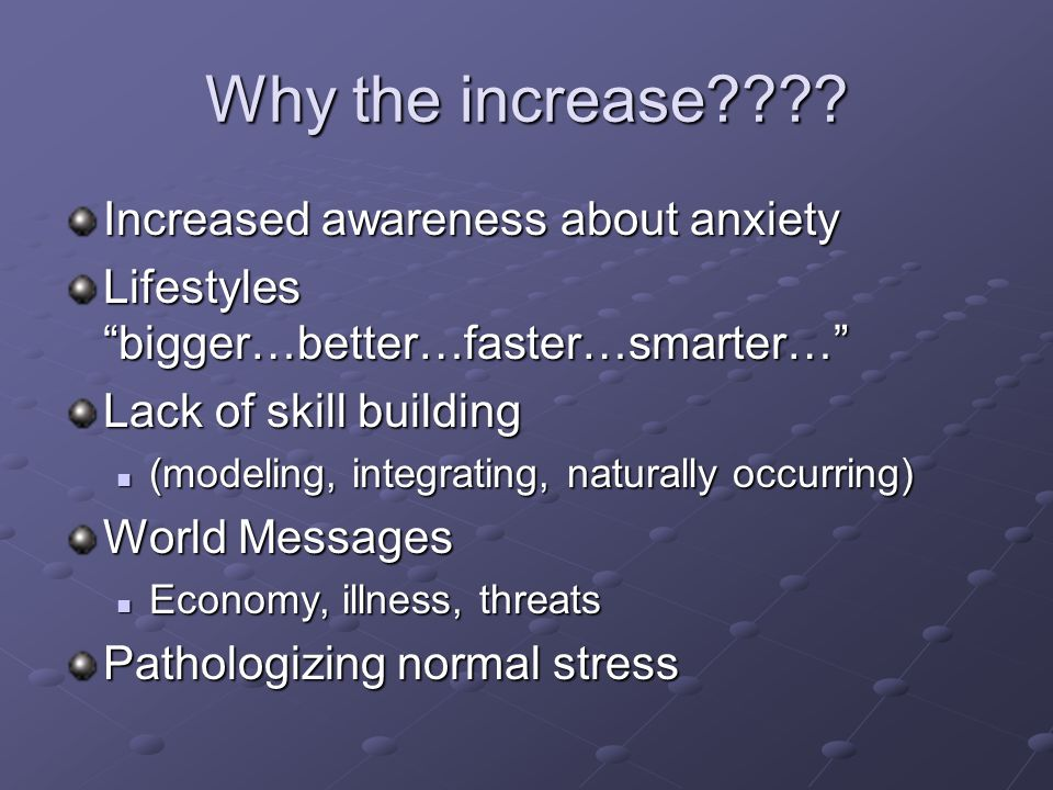 Why the increase Increased awareness about anxiety