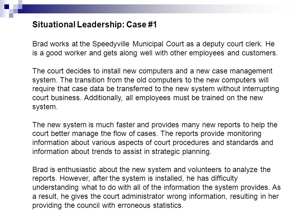 Situational Leadership: Case #1