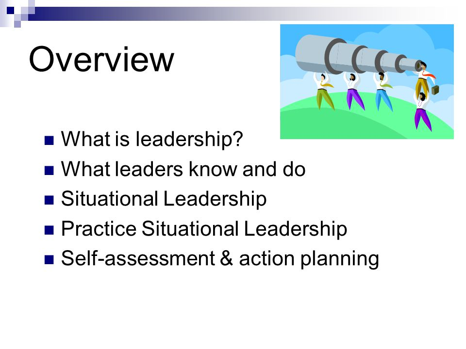 Overview What is leadership What leaders know and do