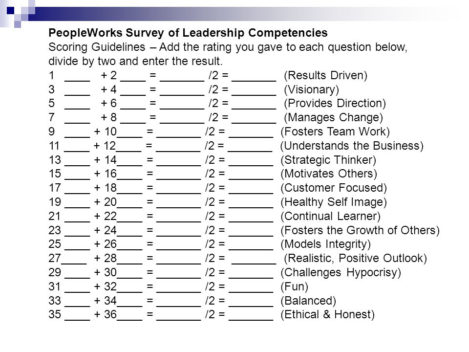 PeopleWorks Survey of Leadership Competencies