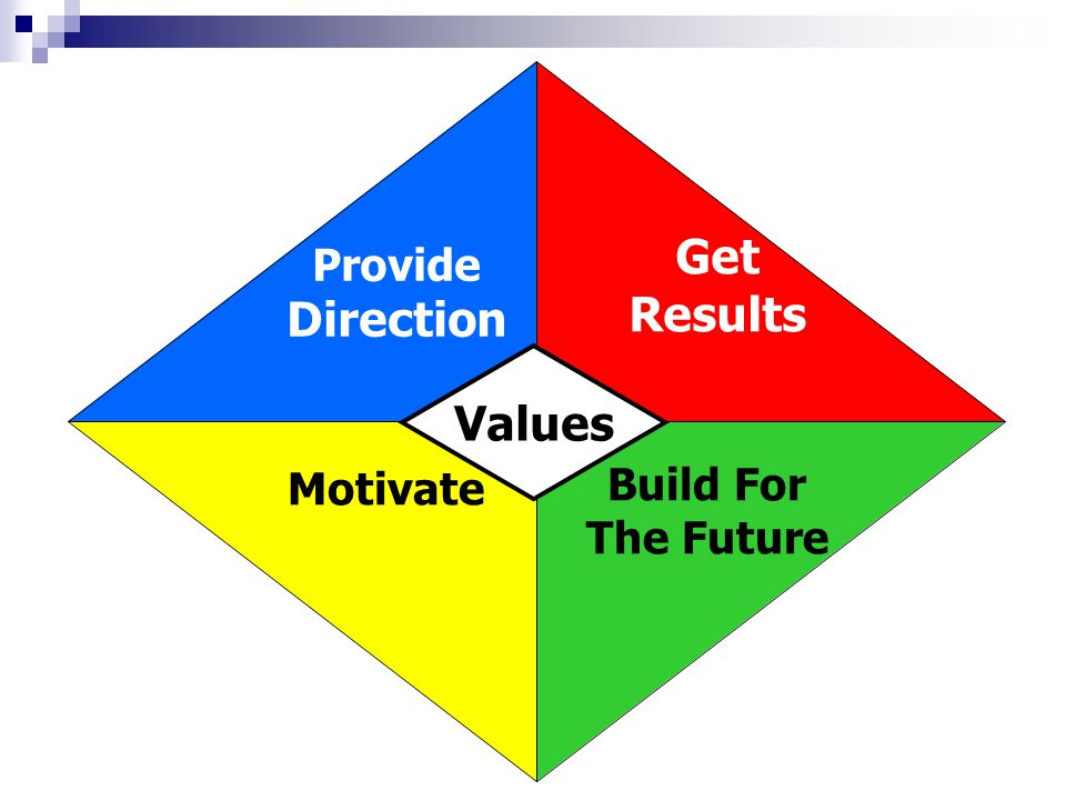 Provide Direction Get Results Build For The Future Motivate Values
