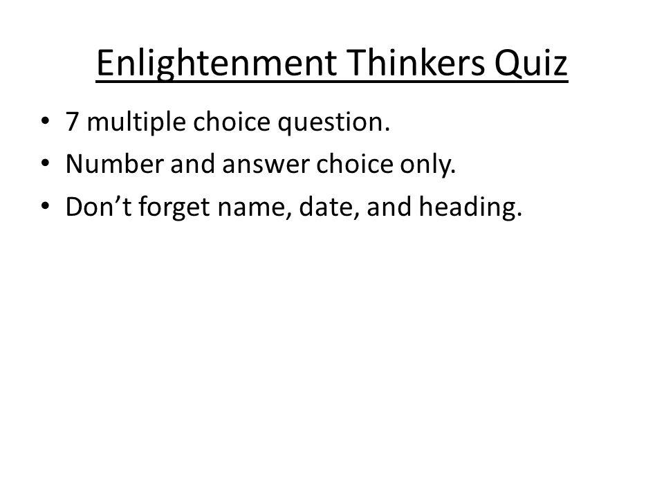 Enlightenment Thinkers Quiz