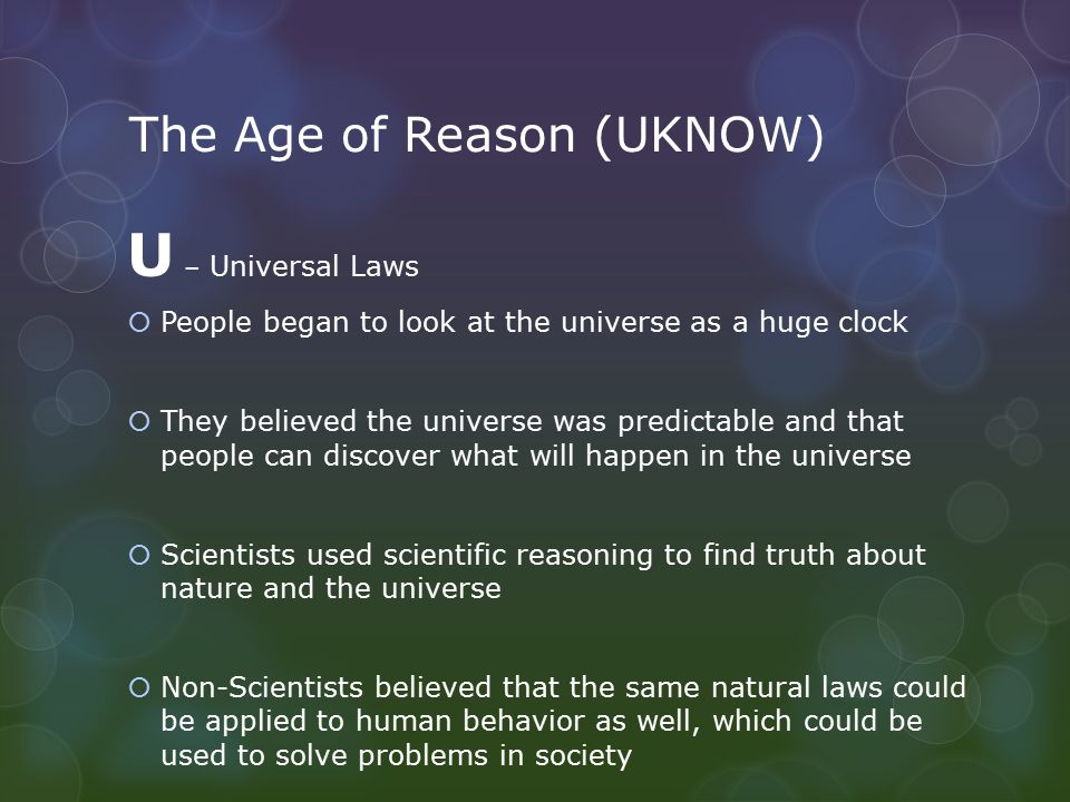 The Age of Reason (UKNOW)