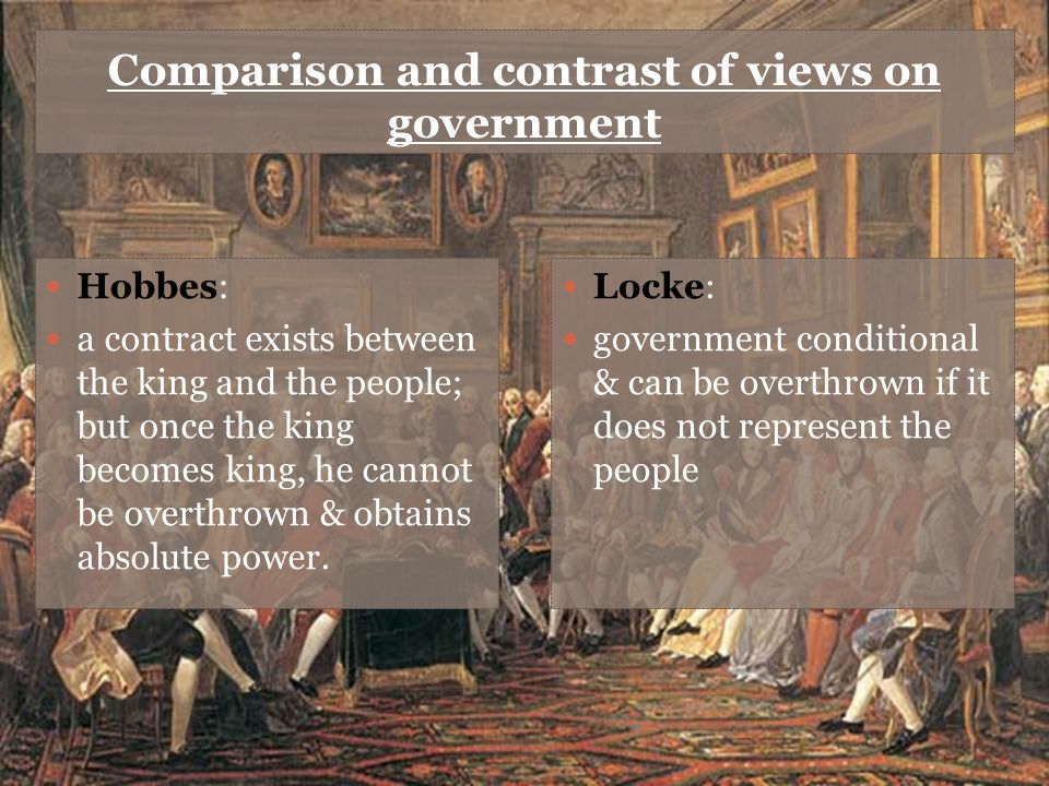 Comparison and contrast of views on government