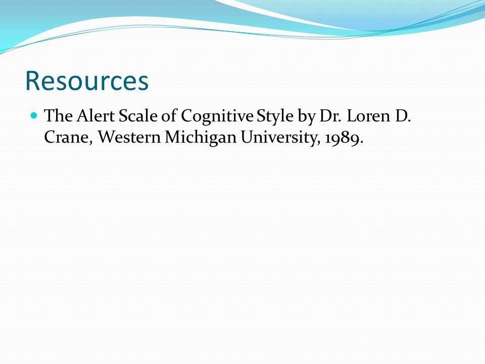 Resources The Alert Scale of Cognitive Style by Dr.